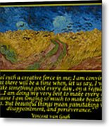 Van Gogh Motivational Quotes - Wheatfield With Crows Metal Print