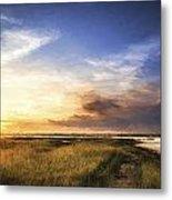Van Gogh Style Digital Painting Beautful Summer Evening Landscape Over Wetlands And Harbour Metal Print