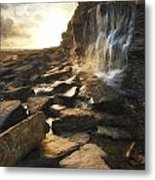 Van Gogh Style Digital Painting Beautiful Landscape Image Waterfall Flowing Into Rocks On Beach  Metal Print