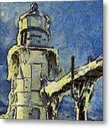 The Frozen Lighthouse Lake Michigan Metal Print