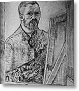 Van Goghs Self Portrait Painting Placed In His Room In Arles France Metal Print