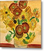 van Gogh's Sunflowers in Watercolor Metal Print