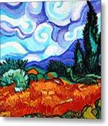 Van Goghs Wheat Field With Cypress Metal Print