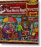 Van Horne Bagel With Yangtze Restaurant Montreal Street Scene Metal Print by Carole Spandau