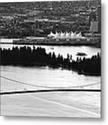 Vancouver Bc City Skyline And Lions Gate Bridge Metal Print