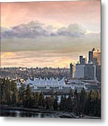 Vancouver Bc City Skyline And Stanley Park Metal Print