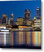 Vancouver Bc City Skyline Reflection Metal Print