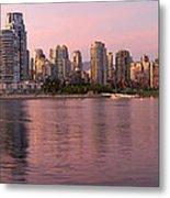 Vancouver Bc Skyline Along False Creek At Dusk Metal Print