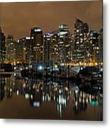 Vancouver Bc Skyline From Stanley Park At Nigh Metal Print