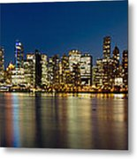 Vancouver Bc Skyline From Stanley Park During Blue Hour Metal Print