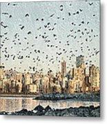 Vancouver Skyline With Crows Metal Print