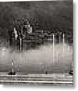 Vancouver Skyline With Fog Over English Bay Metal Print