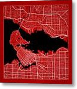 Vancouver Street Map - Vancouver Canada Road Map Art On Color Metal Print