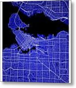 Vancouver Street Map - Vancouver Canada Road Map Art On Colored  Metal Print
