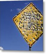Vandalized Road Sign Many Bullet Holes Metal Print