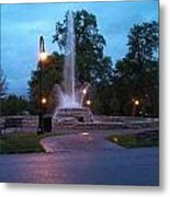 Vander Veer Fountain At Sunset Metal Print