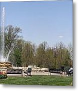 Vander Veer Fountain In Spring Metal Print