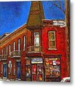 Vanishing Montreal Landmark Depanneur Ste. Emilie And Bourget Montreal Painting By Carole Spandau  Metal Print