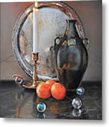Vanitas Still Life By Candlelight With Clementines 1 Metal Print