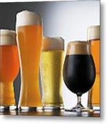Variety Of Beer Glasses Metal Print