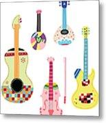Various Kinds Of Stringed Instruments Metal Print