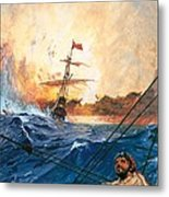 Vasco Da Gama's Ships Rounding The Cape Metal Print
