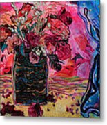 Vase And Blue Curtain Metal Print