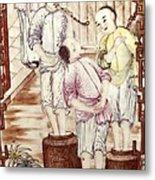 Vase Depicting Men Packing Tea Metal Print