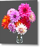 Vase Of Bright Dahlia Flowers Posterized Metal Print