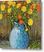 Vase Of Marigolds Metal Print