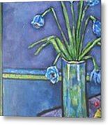 Vase With Blue Flowers And Cherries Metal Print