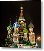 Vasily The Blessed Cathedral At Night - Featured 3 Metal Print