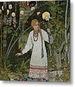 Vassilissa In The Forest Metal Print by Ivan Bilibin