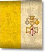 Vatican City Flag Vintage Distressed Finish Metal Print