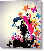 Vector Floral Girl Metal Print
