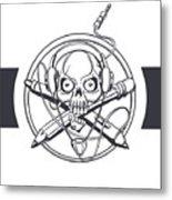 Vector Illustration Of A Black Skull Metal Print