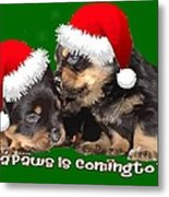 Vector Santa Paws Is Coming To Town Christmas Greeting Metal Print