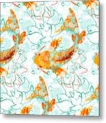 Vector Seamless Pattern With Koi Fish Metal Print