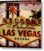 Vegas Destructed Metal Print
