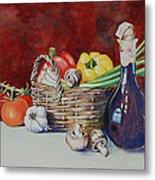Vegetable Basket With Wine Vinegar Metal Print