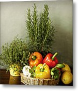 Vegetables And Aromatic Herbs In The Kitchen Metal Print
