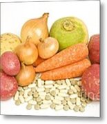 Vegetables And Supplement Pills Metal Print