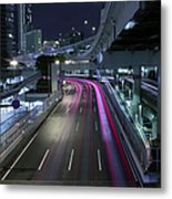Vehicle Light Trails On National Route 1 Metal Print