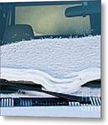 Vehicle Windshield Fresh Snow Thawing Metal Print