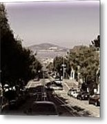 Vehicles On A Busy Road Also Used By The Tram Service Metal Print