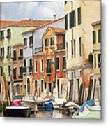 Venetian Apartments Impasto Metal Print