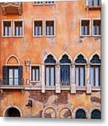 Venetian Building Wall With Windows Architectural Texture Metal Print
