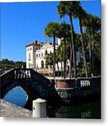 Venetian Style Bridge And Villa In Miami Metal Print