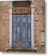 Venice Blue Arched Window Metal Print