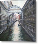 Venice Bridge Of Sighs - Original Oil Painting Metal Print